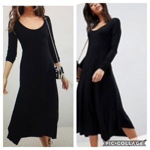 ASOS NWT Scoop Neck Midi Asymmetric Hem Dress